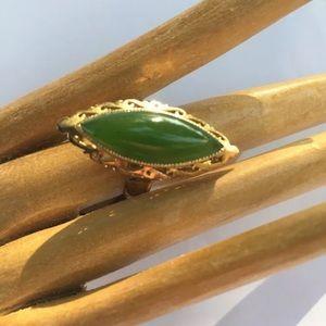 R12) antique Burma Jadite STERLING ring SIZE 7